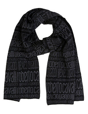 Sciarpa Scarf Roberto Cavalli Logo All over шарф Donna Uomo Women 100% Lana Wool