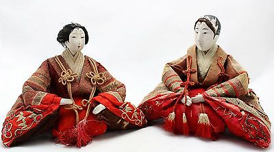 2x antique 19th.C Hina Ningyo Japanese Doll, Imperial Pair, Gofun, Glass eyes