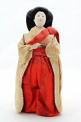 antique 19th.C Hina Ningyo Japanese Doll Court Lady, Gofun Glass eyes Open mouth