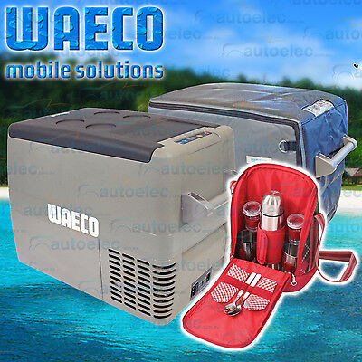 New Model Waeco Cf40 Ac Verb Vmso Portable Fridge Freezer + Cover + Flask Mug Se