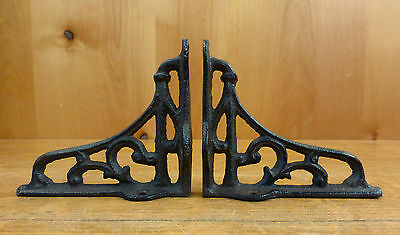"2 SMALL BROWN ANTIQUE-STYLE 4"" CAST IRON SHELF BRACKETS garden rustic SCROLL"