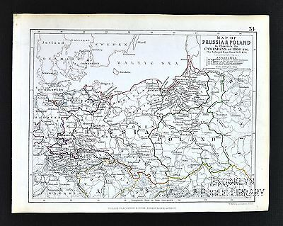 1850 Johnston Military Map - Prussia & Poland Campaigns of 1806 - Germany Berlin