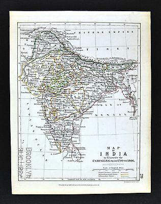 1850 Johnston Military Map  India 1799 - British India Nepal Himalayas Delhi Goa