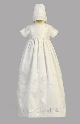 New Baby Boys Girls 100% Silk Gown Christening Baptism Dedication Bonnet Jamie