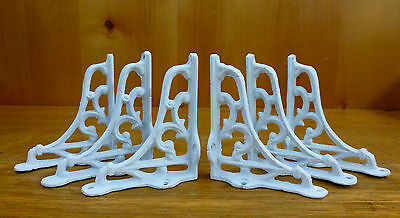 "6 SMALL WHITE ANTIQUE-STYLE 4"" SHELF BRACKETS CAST IRON rustic garden SCROLL"