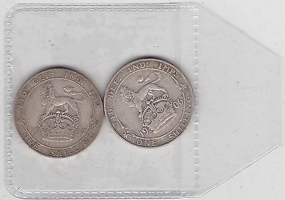 1906 & 1907 Edward Vii Shillings In A Used Fine Condition