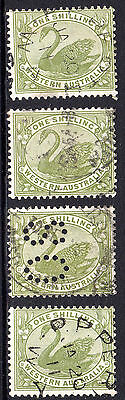 c. 1910 WA Western Australia 1/- Shilling Green Swans incl. OS Perfin Lot of 4
