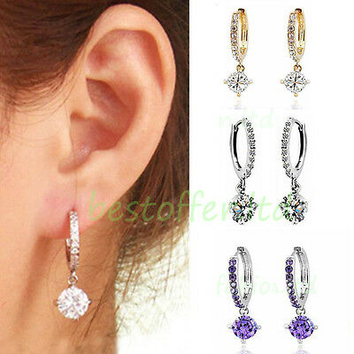 NEW Crystal Rhinestone Silver/Gold Plated Hoop Drop Dangle Earrings Jewelry