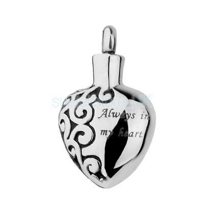 Always In My Heart Silver Urn Necklace Cremation Ashes Memorial Pendant