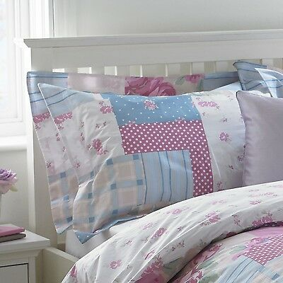 Riva Home Rosie Floral Patchwork Cotton Oxford Pillowcase Pillow Case 200 TC