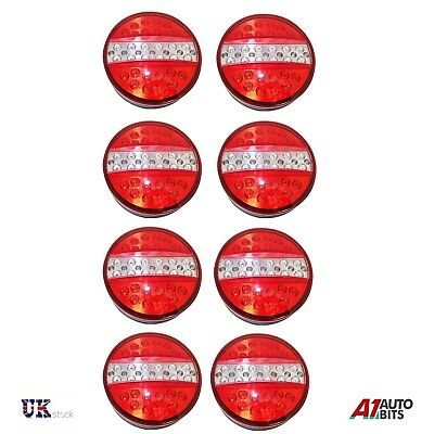 4 Pairs 24V Rear Led Lights Stop Tail Reverse Indicator Trailer Truck 4 Function