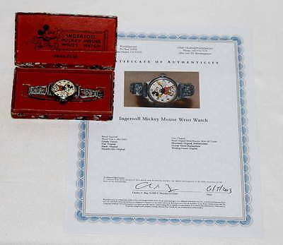 Disney1935 Ingersoll Mickey Mouse Wristwatch+Professional Servicing+Coa-Boxd Set