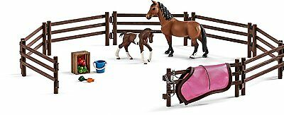 Schleich 42192 Paddock Set with Mare and Foal Fence Model Toy Horse - NIP