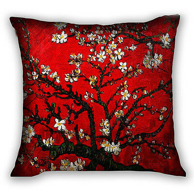 Red Van Gogh Throw Home Decorative Polyester Pillow Case Cushion Cover Crown