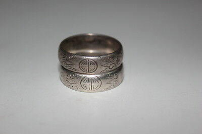 Pair Antique Chinese Silver Carved Rings