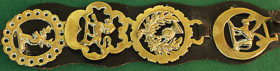 Vintage English Horse Brass Harness Medallions On Leather Set Of 4