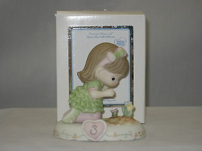 Precious Moments * Growing In Grace Age 3 Brunette (New Color) 142012B NIB