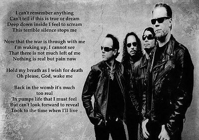 Metallica - One - Rock Lyrics Poster A3 A4 Or Laminated
