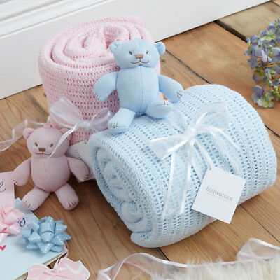 Izziwotnot Powder Blue Gift Cellular Blanket & Soft Toy, Cotbed
