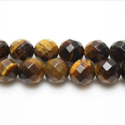 Strand Of 62+ Yellow/Brown Tiger Eye 6mm Faceted Round Beads GS5462-1