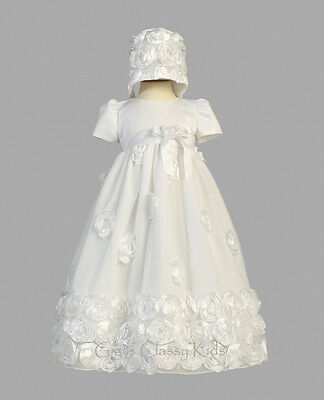 New Baby Girls White Satin Tulle Dress Gown Christening Baptism Floral Clarice