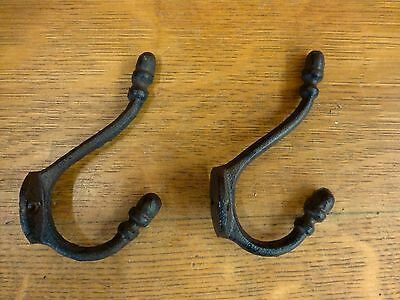 2 BROWN ANTIQUE-STYLE DOUBLE RING COAT HOOKS CAST IRON hat rustic wall hardware