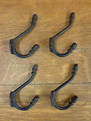 4 BROWN ANTIQUE-STYLE DOUBLE RING COAT HOOKS CAST IRON hat rustic wall hardware