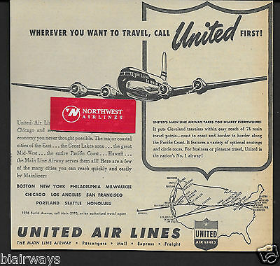 United Airlines 1948 Wherever You Want To Travel,call Ual First Dc6 Cleveland Ad