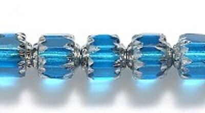 Czech Aqua Blue Cathedral Preciosa Glass Beads 6mm 25 Pieces