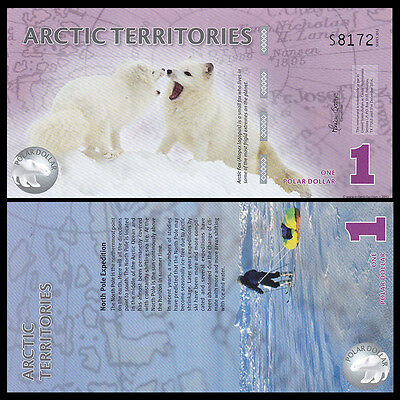Arctic Territories 1 Dollar,   Polymer Banknote Currency,  2012 UNC