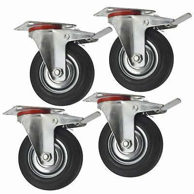 "5"" (125mm) Rubber Swivel With Brake Castor Wheels Trolley Caster (4 Pack) CST0"