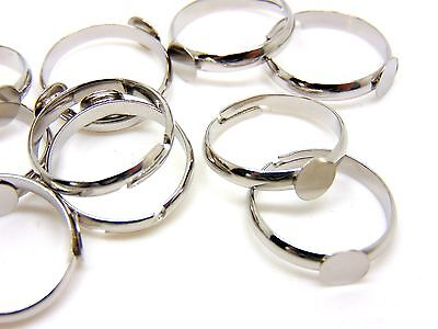 10 Pcs - Antique Silver Adjustable Ring Blanks 6mm Flat Pad Glue Jewellery J112