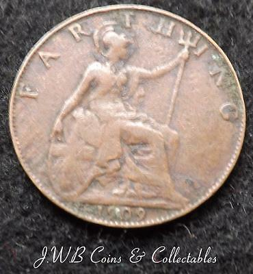 1909 Edward VII Great Britain Farthing Coin