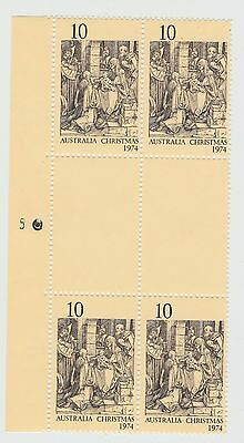 AUSTRALIA 1974 10c Christmas PLATE 5 Left BLOCK OF 4  MUH .