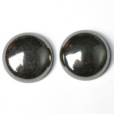 Pack of 2 x Pale Gold Pyrite 20mm Coin-Shaped Flat-Backed Cabochon GS18579-8