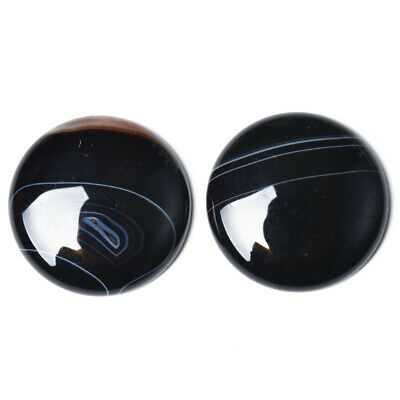 1 x Black Banded Agate 25mm Coin-Shaped Flat-Backed Cabochon CA17401-6