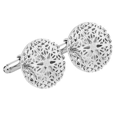 New Stainless Steel Vintage Silver Circle Cuff Links Men's Wedding Gift