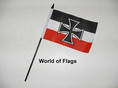 "GERMAN NAVY JACK SMALL HAND WAVING FLAG 6"" x 4"" Germany WW1 Table Desk Display"