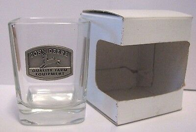 *John Deere Shot Glass with Pewter 1936 Shield Trademark Logo 4 Legged Deer 2.5""