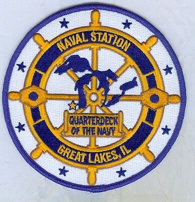 Us Navy Patch - Naval Station Great Lakes Il - Quarterdeck Of The Navy