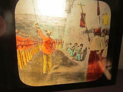 Shooting Prisoners in Cabanas #65 Antique Colorized Magic Lantern Glass Slide