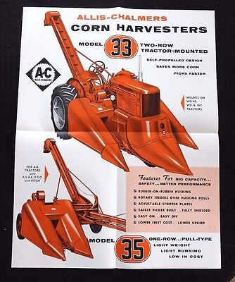 Allis Chalmers Wc Wd Wd-45 Tractor 1-Row 2-Row 33 35 Corn Picker Brochure Poster