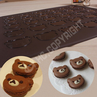Bear Heads Cake Decorating Silicone Macaron Pastry Muffin Baking Sheet Mat Mould