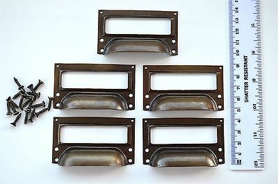 A set of 5 vintage aged brass filing cabinet label holder drawer pull handle FD2