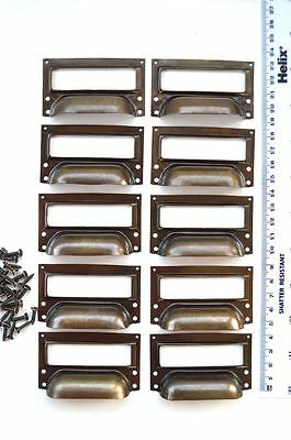set of 10 vintage aged brass filing cabinet label holder drawer pull handle FD2