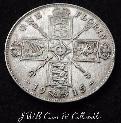 1915 George V .925 Silver Florin Coin - Great Britain..