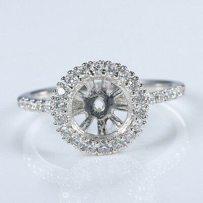 8mm Round Semi Mount Engagement Ring Setting Solid 14k White Gold Accents CZ