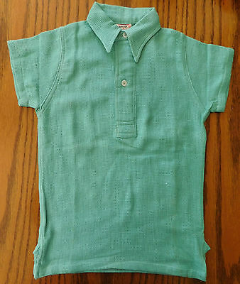 Vintage Aertex shirt 1950s Cellular Clothing Green Age 5-6 years school sports