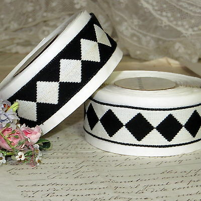 1y VTG  FRENCH COTTON BLACK WHITE DIAMOND RIBBON REVERSE PATTERN HARLEQUIN TRIM