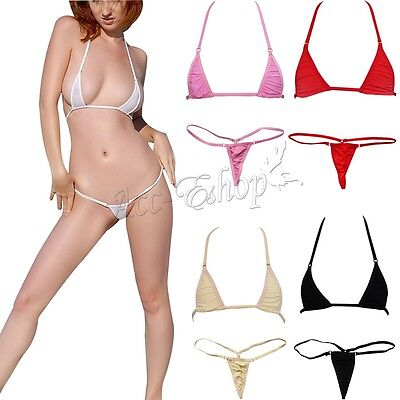 Women's Sexy Micro Thong G string Brazilian Mini Top Bra Bottom Bikini Swimwear